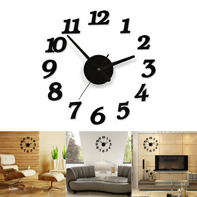 UK Modern Art DIY Wall Clock 3D Self Adhesive Sticker Home Office Kitchen Decor