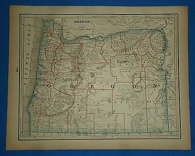 Vintage 1893 Map ~ OREGON ~ Old Antique Original Atlas Map ~ Quick N Free