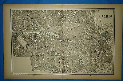 Vintage 1893 Map ~ PARIS, FRANCE ~ Old Antique Original Atlas Map - Quick N Free