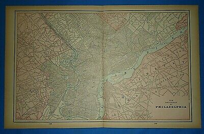 Vintage 1893 Map ~ PHILADELPHIA ~ Old Antique Original Atlas Map - Quick N Free