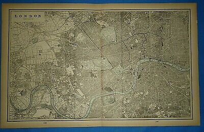 Vintage 1893 Map ~ LONDON, ENGLAND Old Antique Original Atlas Map - Quick N Free