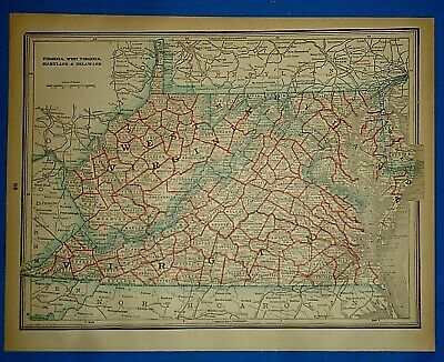 Vintage 1893 Map VIRGINIA WEST VIRGINIA Antique Original Atlas Map Quick N Free