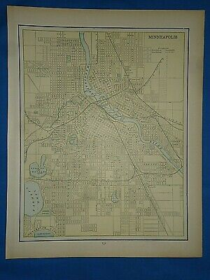 Vintage 1891 MAP ~ MINNEAPOLIS, MINNESOTA Old Antique Original Atlas Map