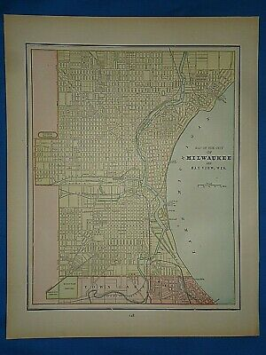 Vintage 1891 MAP ~ MILWAUKEE, WISCONSIN Old Antique Original Atlas Map