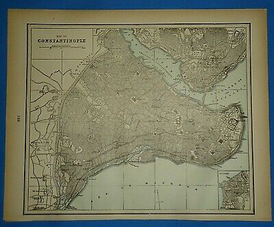 Vintage 1893 Map ~ CONSTANTINOPLE ~ Old Antique Original Atlas Map  Quick N Free