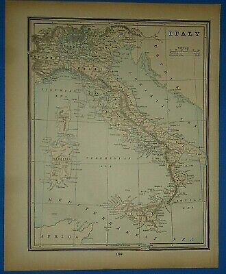 Vintage 1893 Map ~ ITALY ~ Old Antique Original Atlas Map - Quick N Free