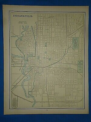 Vintage 1891 MAP ~ INDIANAPOLIS, INDIANA Old Antique Original Atlas Map