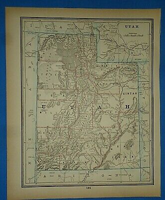 Vintage 1893 Map ~ UTAH ~ Old Antique Original Atlas Map ~ Quick N Free
