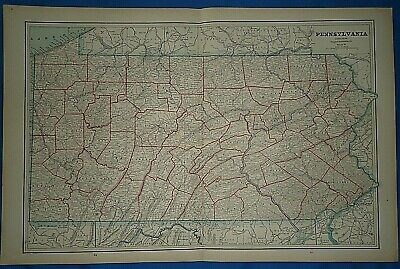 Vintage 1891 MAP ~ PENNSYLVANIA Old Antique Original Atlas Map