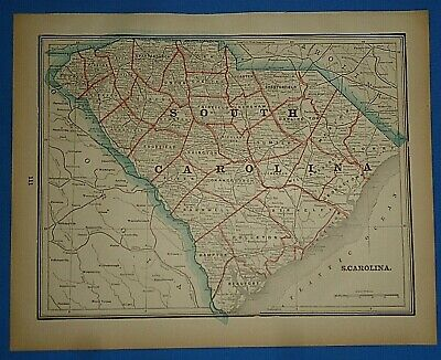 Vintage 1893 Map ~ SOUTH CAROLINA Old Antique Original Atlas Map ~ Quick N Free