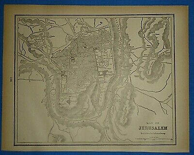 Vintage 1893 Map ~ JERUSALEM ~ Old Antique Original Atlas Map - Quick N Free
