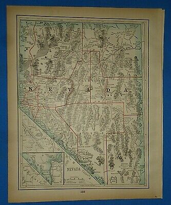Vintage 1893 Map ~ NEVADA ~ Old Antique Original Atlas Map ~ Quick N Free