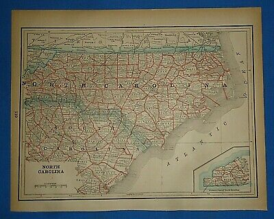 Vintage 1893 Map ~ NORTH CAROLINA Old Antique Original Atlas Map ~ Quick N Free