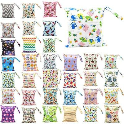 Wet Dry Baby Cloth Diaper Nappy Bag Double Zippers Pocket Waterproof Reusable