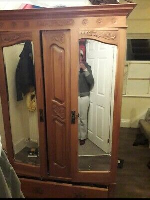 Solid Oak double/triple size 2 door wardrobe + drawers antique  Think French o