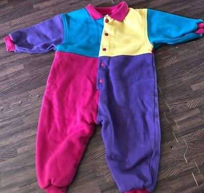 80s One Piece Baby Pink Purple green yellow Color Block 18 months Bright Clown