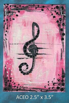 Original ACEO Musical Note - Abstract - miniature acrylic painting, not framed