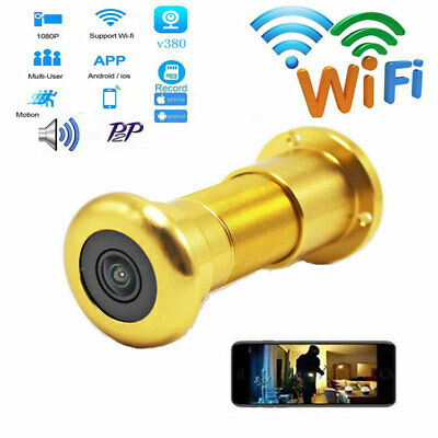 1080P Wireless WIFI IP Smart Door 90 degrees Peephole camera Nanny CAM Recorde