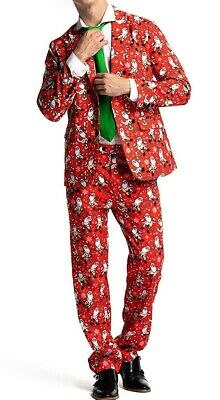 U Look Ugly Mens Suit Set Red Size Large L 3 Piece Christmas Print $99 #069