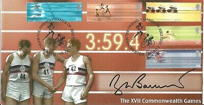 Sir Roger Bannister signed 2002 Commonwealth Games FDC 4 Minute Mile AK1401