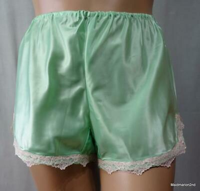 VINTAGE STYLE SILKY SMOOTH MINT GREEN SATIN FRENCH KNICKERS PANTIES Lg