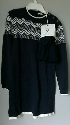 BRAND NEW Girls NEXT Navy Knitted Tunic Dress With Tights Age 5 To 6 Years BNWT