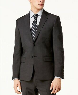 $650 Calvin Klein Men's Skinny-Fit Infinite Stretch Charcoal Suit Jacket 38S