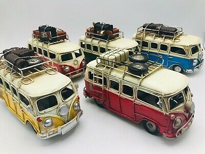 Hand Made Antique Metal Volkswagen Shabby Camper Van For Collection