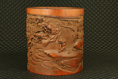 Rare chinese old bamboo hand carved ox man statue figure brush pot