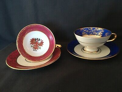 A complementary pair of Vintage 'Hassenpflug' Porcelain Mocha Cups And Saucers