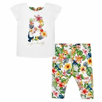 NEW Mayoral B is for Beauty Tropical Shirt Top & Leggings 2pc Set Girls sz 2