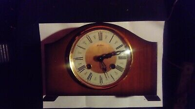 Vintage German mantle clock Bentima 8 days, halfhourly chimes