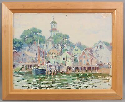 Antique MABEL WOODWARD Impressionist  Oil Painting Provincetown Cape Cod Harbor