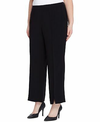 Tahari by ASL Women's Pants Black Size 24W Plus Slit-Front Ankle $109 #277