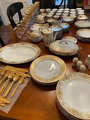 Antique 140+ Serving Pieces NORITAKE Christmas Ball Gold China Dinnerware 16034