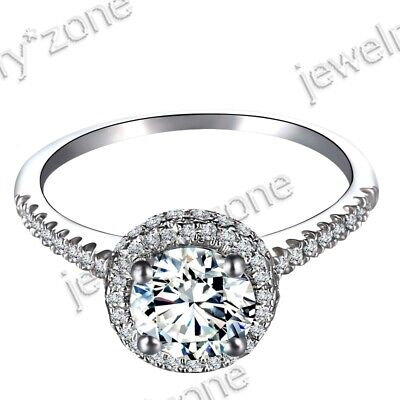 925 Sterling Silver 1.3ct Round 7mm Halo Cubic Zirconia Engagement Wedding Ring