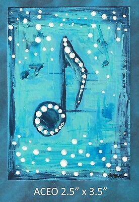 Original ACEO - Abstract Musical Note - miniature acrylic painting, not framed