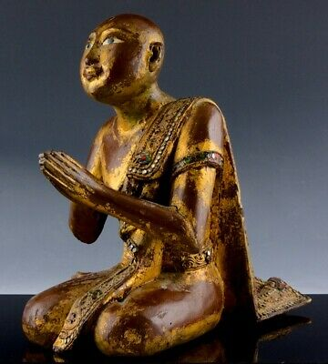 Large Antique Chinese Thai Gold Red Lacquer Wood Jewelled Buddhist Monk Figure