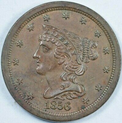 1856 Braided Hair Half Cent UNC