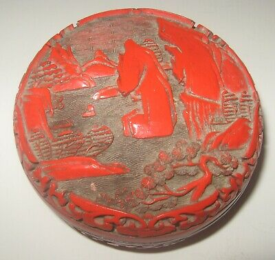 Vintage Chinese Carved Cinnabar Trinket Box
