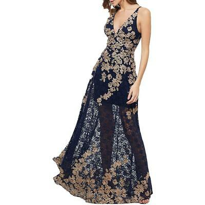 Aqua Womens Lace-Overlay Floral Formal Evening Dress Gown BHFO 7362