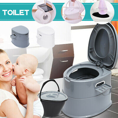 Portable Toilet Flush Bucket Travel Camping Commode Potty  Outdoor/Indoor Box