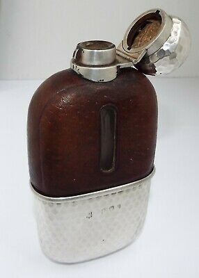 Superb Clean Heavy English Antique 1893 Solid Silver & Glass Hip Spirit Flask