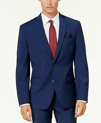 $425 Bar III Men's Slim-Fit Active Stretch Suit Jacket 38S Bright Navy