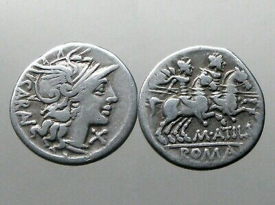 ATILIA 8 SILVER DENARIUS_______Roman Republic_______ROMA AND THE DIOSCURI