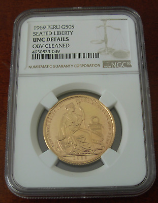 Peru 1969 Gold 50 Soles NGC UNC Details Seated Liberty Mintage - 443