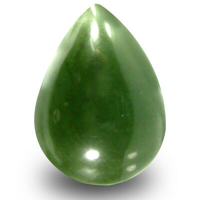 19.68 CT Poire Cabochon (22 X 16 mm) Vert Olive Un-Heated Serpentine Gemme