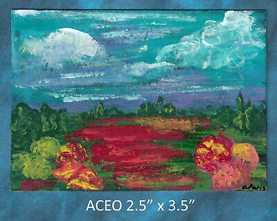 Original ACEO - Landscape Abstract - miniature acrylic painting, not framed