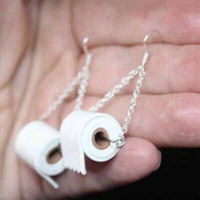 1 Pair Creative Silver TOILET PAPER Roll EARRINGS Hook Ear Wire Polymer Clay