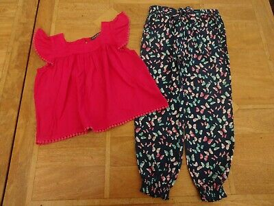 Girls Primark Pink Top & Navy Butterfly Cuffed Trousers Outfit - Age 5-6